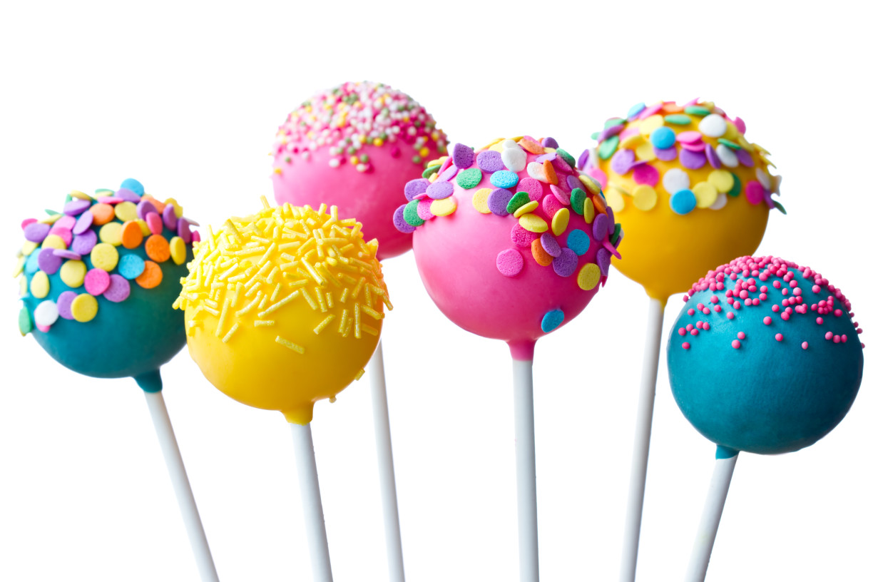 Assortment of brightly colored cake pops